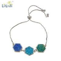 LiiJi Unique Natural Druzy Quartzs Crystal Chain Bracelet Blue Green Natural Stone Adjustable Chain Bracelet For Women Men
