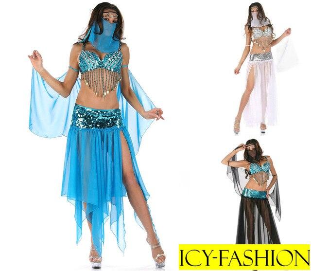 Blue/Black/White Sequins Sexy Indian Belly Dancer Genie
