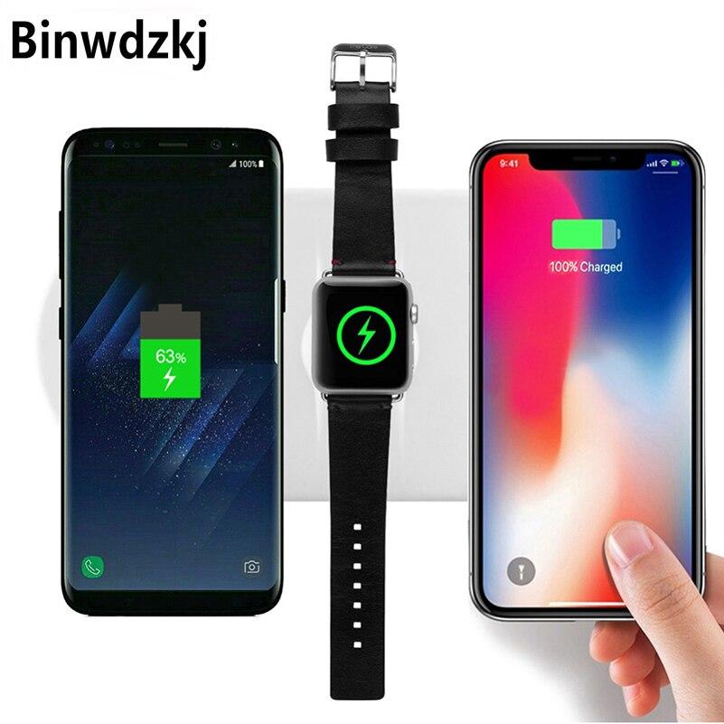 Chargeur sans fil 3 en 1 à charge rapide pour Apple Watch 2 3 chargeur sans fil pour iPhone X/8 Plus/8 Samsung Galaxy S8 S9 Plus