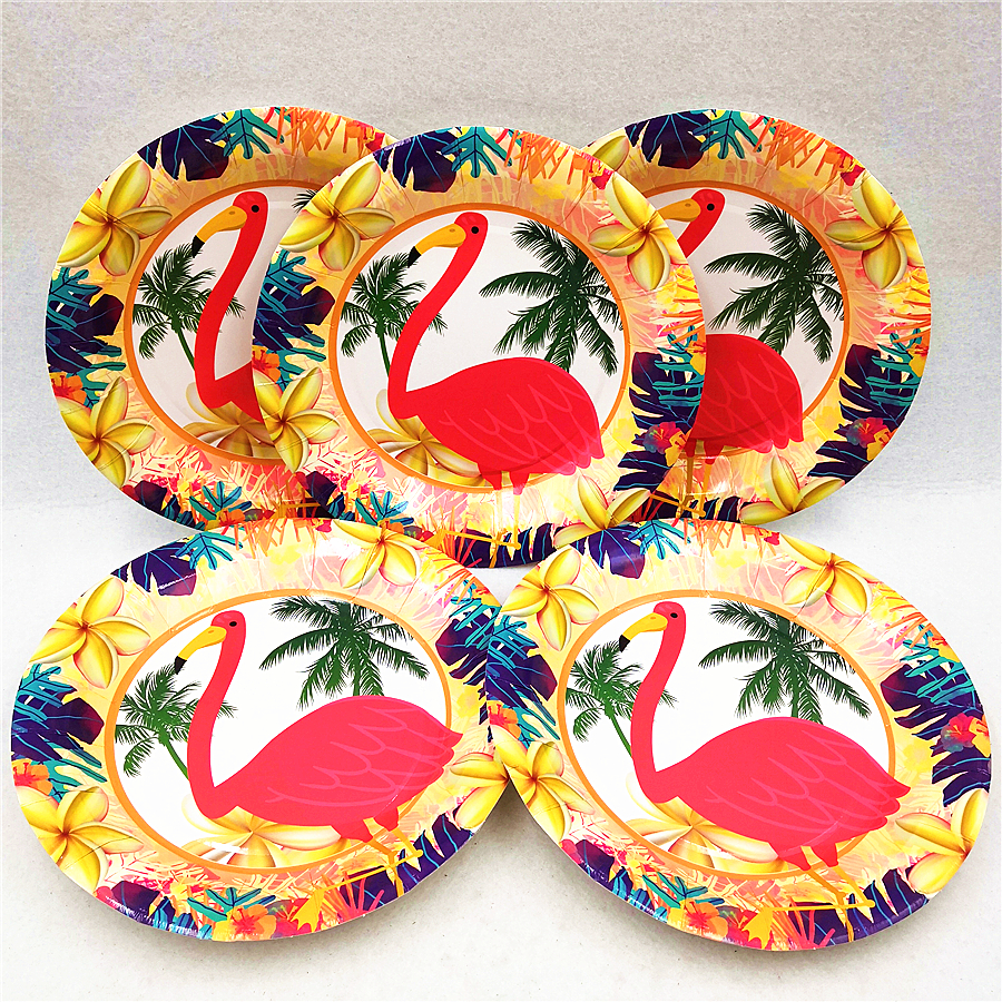 6pc/set Flamingo Party Supplies Paper Plates Tableware Baby Shower Kids Birthday Decoration Cake Dishes Favor