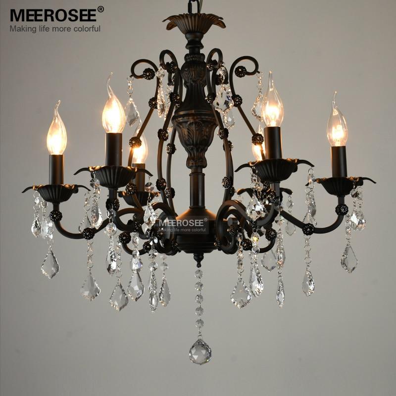 Vintage black crystal pendant light fixture 6 lights for Suspension a 3 lampes
