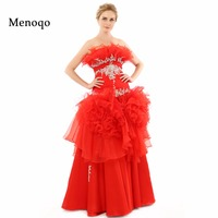 Vestidos de festa Special occasion Dresses 2018 Newly Red Ball gown Applique Organza Floor length long Prom dresses Real Samples