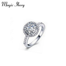 Magic Ikery Wholesales Lots Fashion Jewelry  Rose Gold Plated Zircon Crystal Vintage Round The Party Rings for women MKZ1127