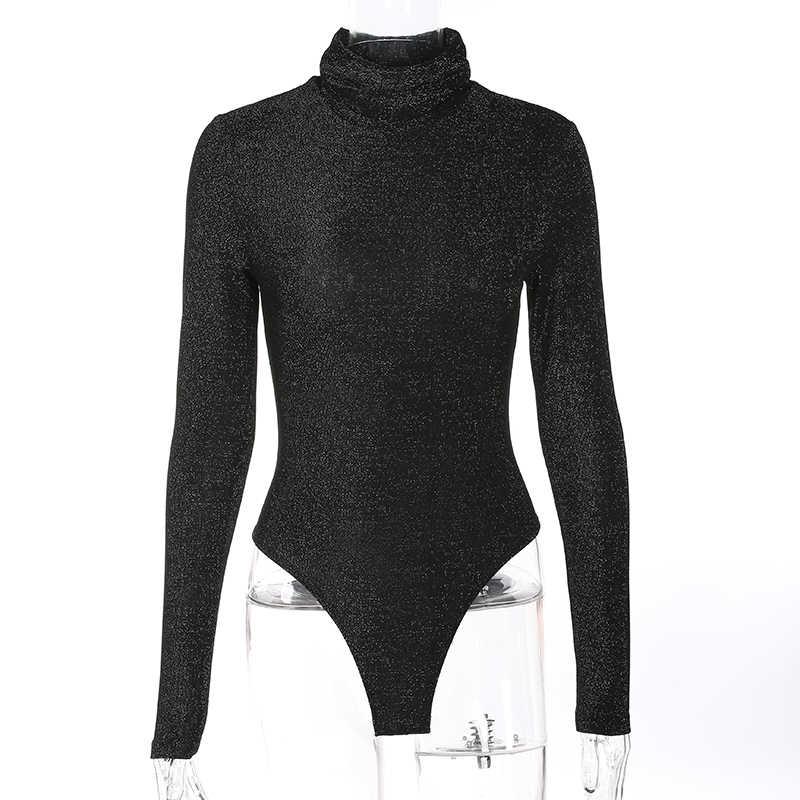 Weekeep mujeres Sexy negro Boydycon Bodysuit Otoño Invierno cuello alto manga larga Bodysuits Casual Shinny Rompers Combinaison