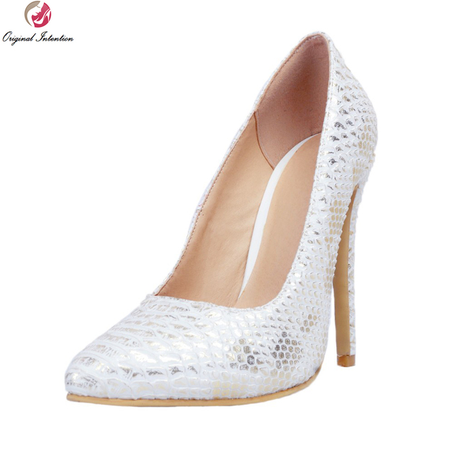 10f8de7f270 Original Intention Stylish Women Pumps Beautiful Pointed Toe Thin Heels  Pumps High-quality Silver Shoes