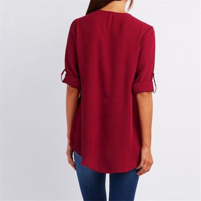 Long Sleeve Loose V Neck Zipper T Shirt