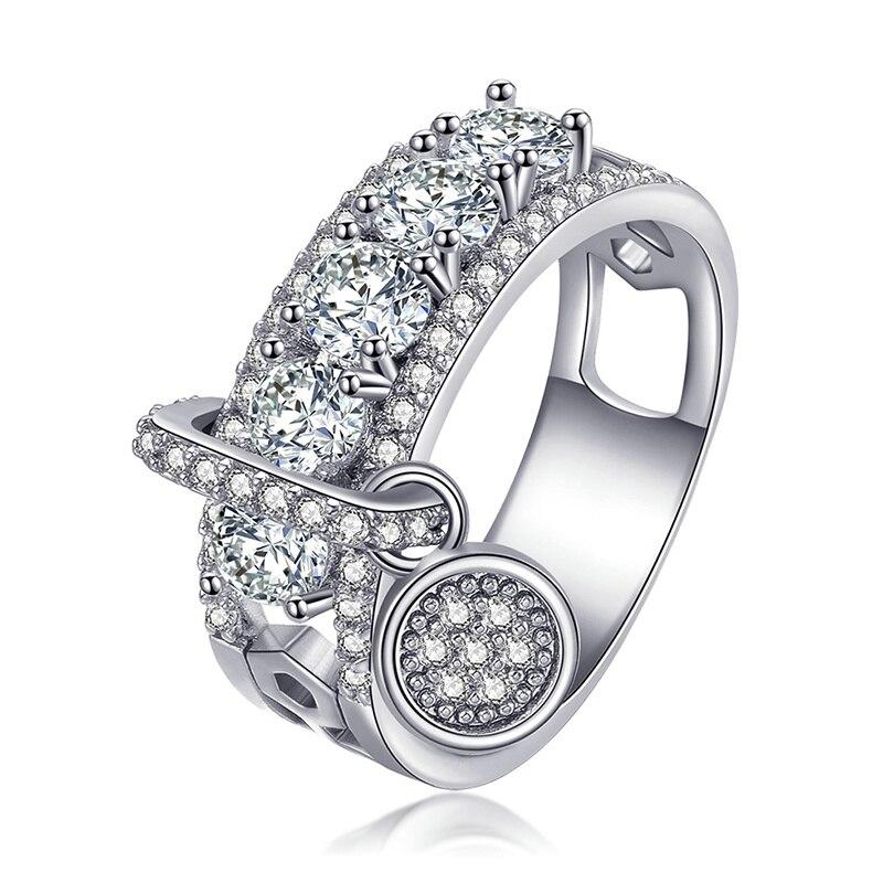 Модное Сверкающее циркониевое серебряное кольцо для женщин, цветочное сердце, корона, кольца на палец, фирменное кольцо, ювелирное изделие, Прямая поставка - Цвет основного камня: 16