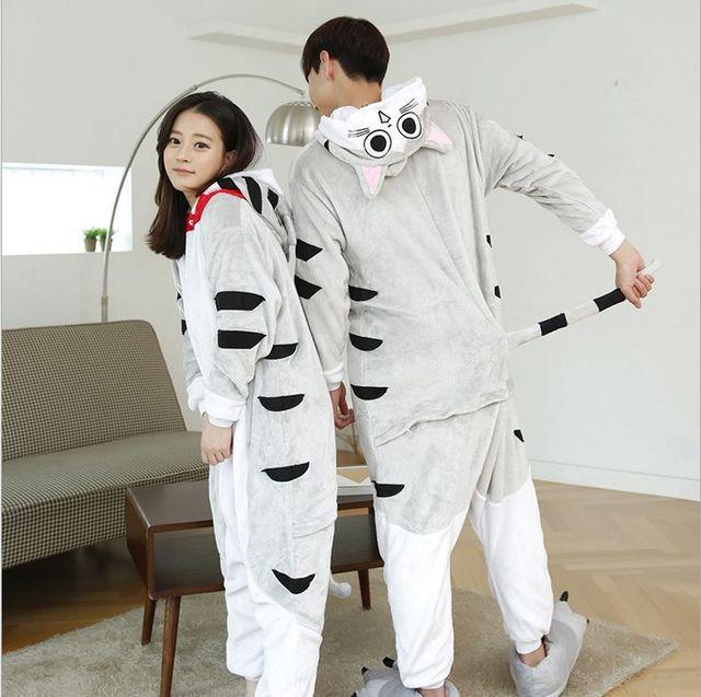Adulto Unisex Pijamas Animal Carácter Completo de La Manga del Traje de Las Mujeres de Poliéster Con Capucha Pijama Pijamas Qianxiu