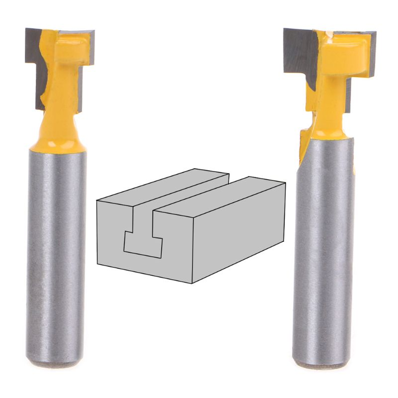 2Pcs/Set 8mm Shank T-Slot Router Bit T-Track Slot Woodworking Power Tool Cutter Cutting For 1/4