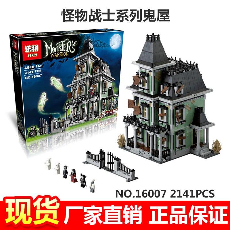 16007 2141 Unids Ciudad Monster Fighter Haunted House Modelo Kit de Construccion Juguetes de Bloques Compatible 10228 la ciudad