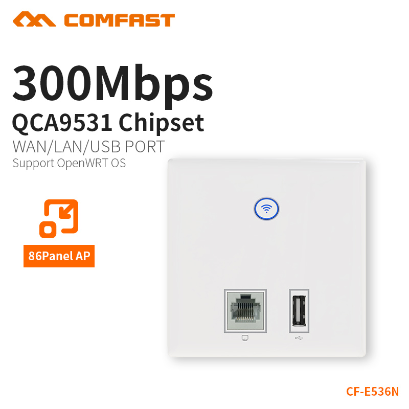 COMFAST Wall Embedded Ap 300mbps Access Point Wifi 48V Poe Power Supply Hotel Use AP RJ45 Usb Charger Port Dual 3dBi CF-E536N