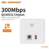 COMFAST duvar gömülü ap 300mbps erişim noktası wifi 48V poe güç kaynağı otel kullanımı AP RJ45 usb şarj aleti port çift 3dBi CF-E536N