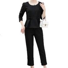 Women Peplum Top And Pant Suit 2 Pieces Trouser Sets Woman Cotton Linen Twinset Gray Black Khaki Blouse Ensemble