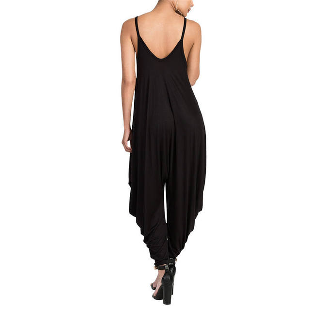 Women Rompers Long Spaghetti Strap Jumpsuit V Neckline Comfy Loose Solid Plus Size Romper Sexy Bodysuit Rompers Womens Jumpsuit
