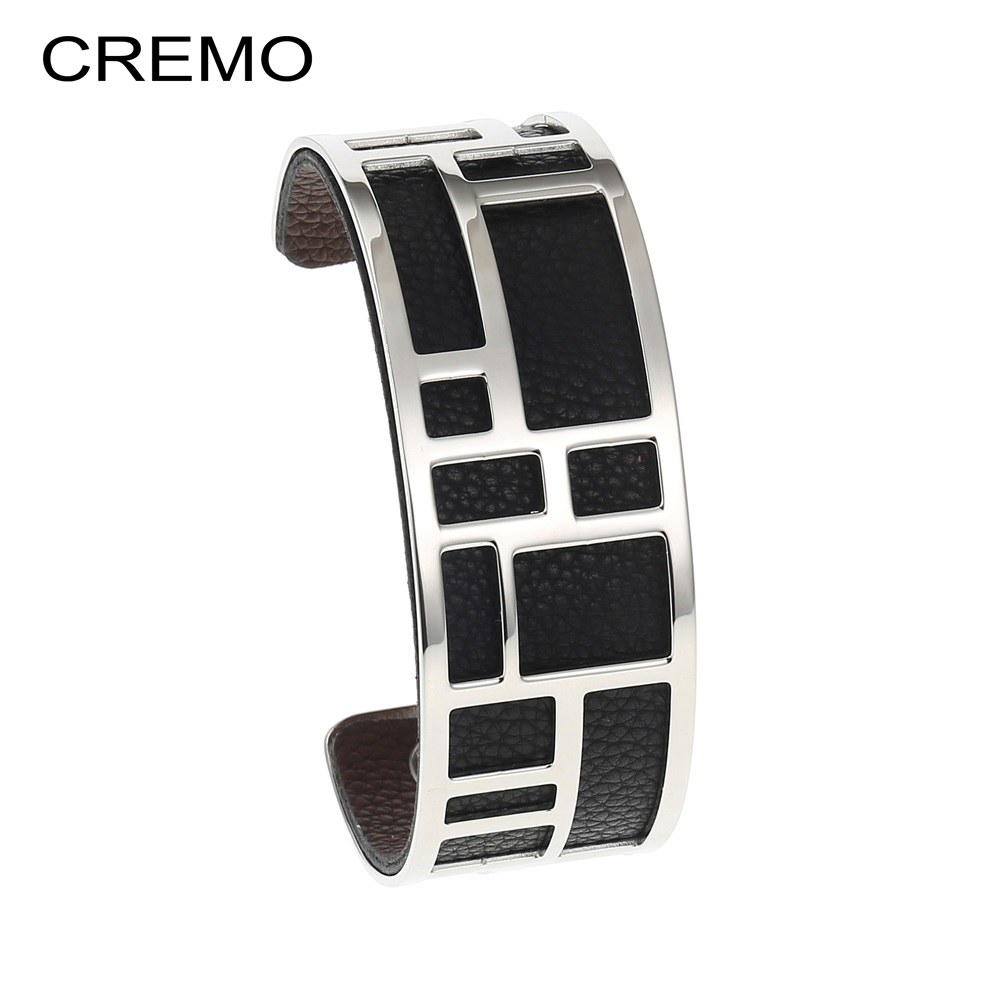 Cremo Bracelets & Bangles For Women Stainless Steel Bangle Argent Femme Manchette Reversible Labyrinth Arm Cuff Jewelry Pulseras
