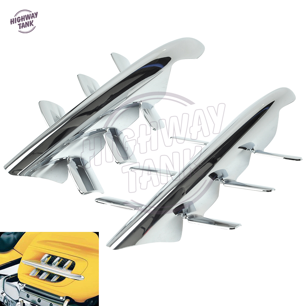 Chrome Motorcycle Exhaust Vent Accents Shark Gill Case for Honda Goldwing GL1800 2001-2010 new chrome motorcycle rear passenger armrests for honda goldwing gl1800 2001 2017 16 15 14 13 12 11 10 09 08 07 06 05 04 03 02