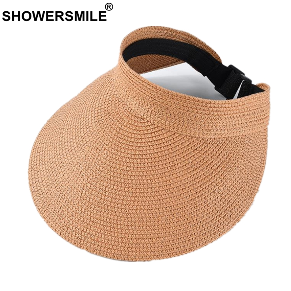 SHOWERSMILE Women Visor Hat Orange Spring Summer Ladies Sun  Uv Protection Female Adjustable 2019 Straw Running