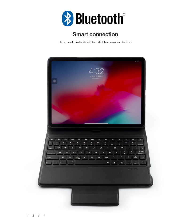 Color : Rose Gold Black with Pen Slot /& Holder CellphoneMall Keyboard A11B Bluetooth 3.0 Ultra-Thin ABS Detachable Bluetooth Keyboard Leather Case for iPad Pro 11 inch (2018)