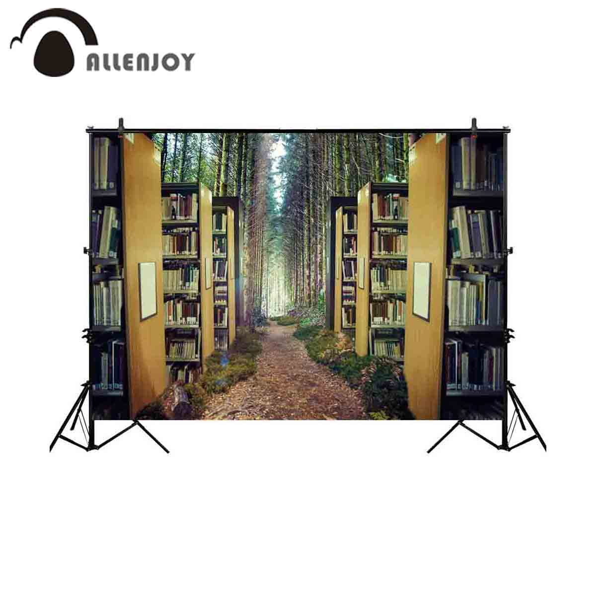Allenjoy Photography Background Fantasy Bookshelf Forest Fairy Tale Backdrop Photobooth Photo Studio Photocall Prop Fabric