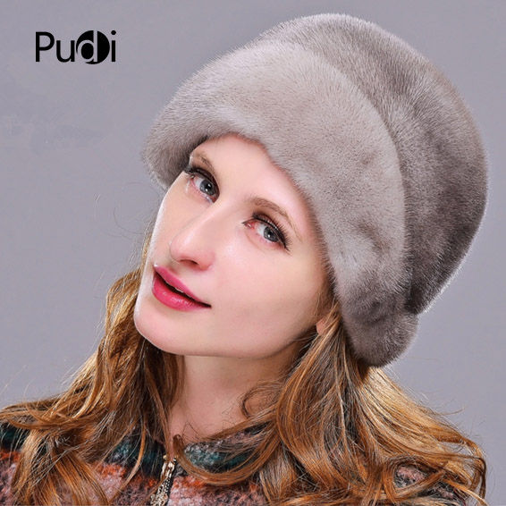 HM013 Winter hats for women Real genuine mink  fur hat  women's winter hats whole piece mink fur hats 2