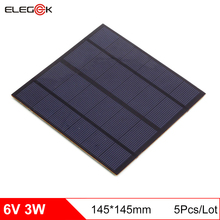 ELEGEEK 5Pcs/Lot 6V Mini Solar Panel 145*145mm Polycrystalline 500mAh 3W Solar Panel Cell for DIY and Education