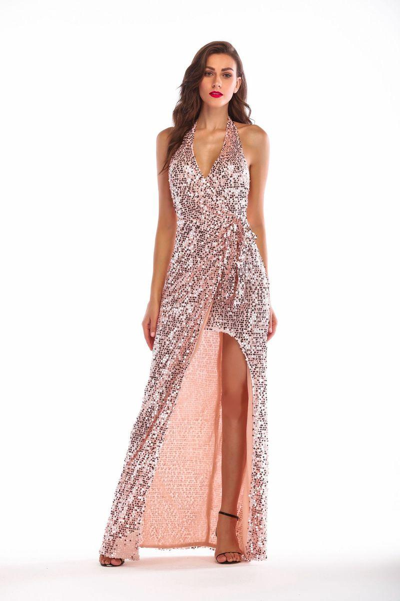 Robe à col suspendu en or Rose robe Sexy à paillettes extensibles Vestidos Verano 2018 robe à Bandage robes femmes vêtements