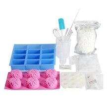 Yeni sabun yapımı kiti 3 çeşit silikon kalıp 500g sabun taban ve daha birçok sabun yapımı malzemeleri