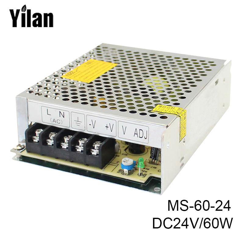 MS-60-24 Best quality 60W Switching Power Supply Driver for LED Strip AC 100-240V Input to DC 24V free shipping 1200w 48v adjustable 220v input single output switching power supply for led strip light ac to dc