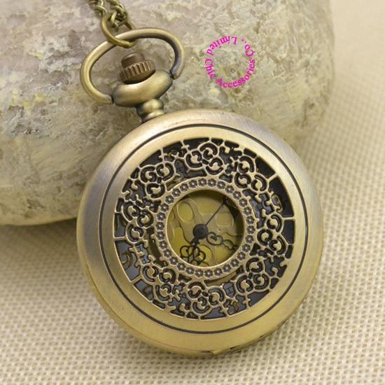 Wholesale Buyer Pocket Watch Good Quality Fashion Girl Ladies Quartz Fob Watches Bronze Vintage Golden Flower Figure Hour
