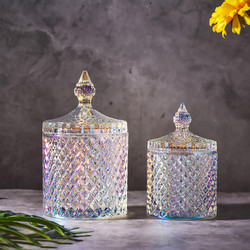 European Color Crystal Glass Storage 600ML Canned Sugar Cans Diamond Candy Box Cotton Swab Box Cotton Pad Household Storage
