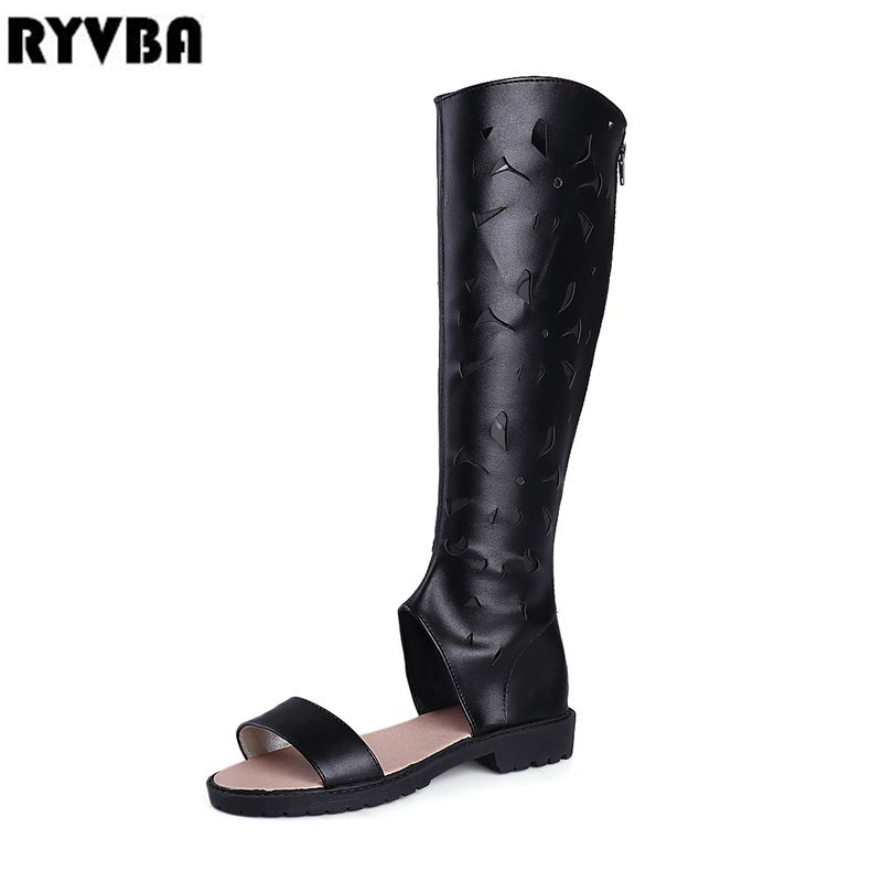 RYVBA woman fashion summer thigh high boots 2018 ladies open toe sandals women cut outs knee high boots womens low heels shoes