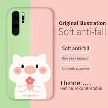 Original Cute Cartoon Liquid Silicone Case For Huawei P20 P30 Lite Pro Cats Cover Honor 8X 10 Mate 20 Capas