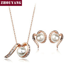 Top Quality ZYS100  Imitation Pearl  Rose Gold Plated Jewelry Necklace Earring Set Rhinestone Made with Austrian  Crystals