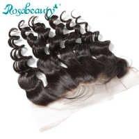 Rosabeauty brésilien lâche vague dentelle fermeture frontale pré-plumé avec bébé cheveux Remy oreille à oreille 13x4 cheveux humains frontale