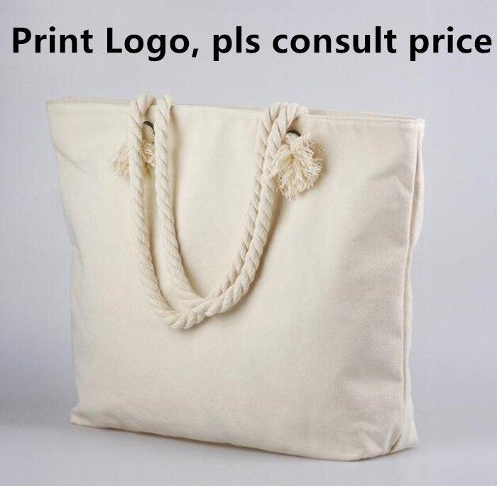 Velkoobchod 100PCS / LOT Bílé bavlněné kabelky velké velikosti 46 * 40 * 10 cm Dárková taška může tisk LOGO