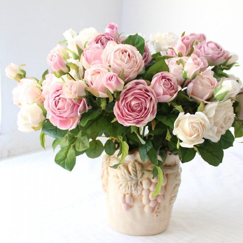 2 pezzi bella rosa spray colorato di alta qualità fiore di seta artificiale per la decorazione della festa nuziale 3 teste per stelo