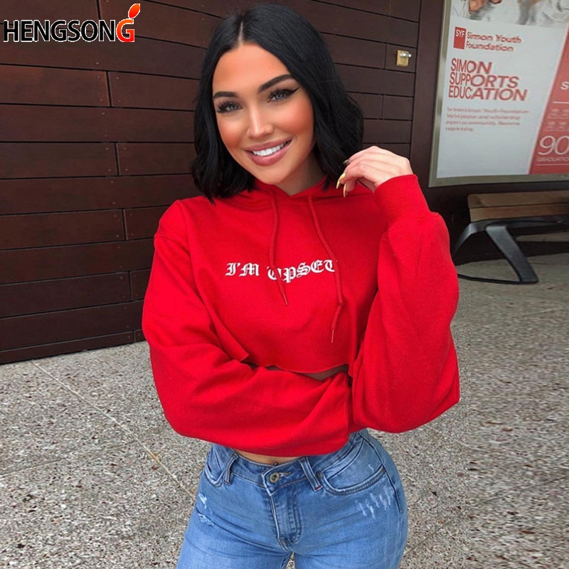New Long Sleeve Pullovers Tops Letters Print Hooded Crop Tops Sexy Autumn Fashion Loose Casual Sweatshirt Hoodies