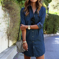 ZANZEA Women Denim Dress Autumn Long Sleeve Buttons Pockets 2016 New Fashion Casual Loose Mini Shirt