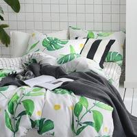 100綿葉寝具セットグリーンベッドシーツ刺繍布団カバークイーン掛け布団セット王綿ベッドリネ