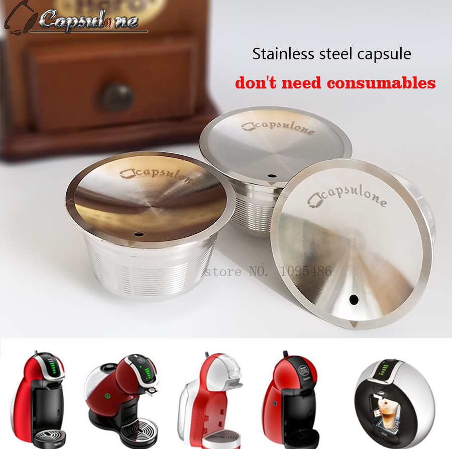 capsulone stainless steel metal capsule compatible for dolce gusto machine refillable reusable. Black Bedroom Furniture Sets. Home Design Ideas