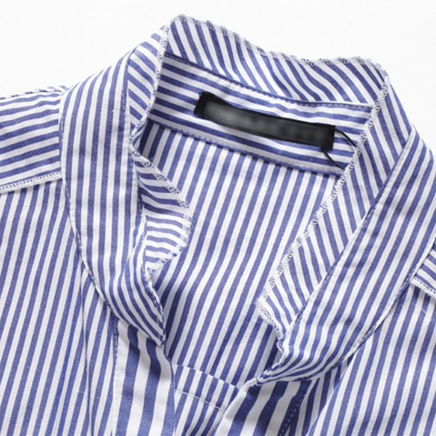 Femmes 2018 Printemps Bureau Trois Blue D83101a Perles Hots white Robe Européen Mince Trimestre Striped ligne Élégante Lady Manches Robes A Rayé Style g4gO5nq