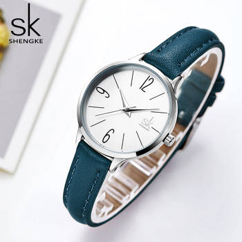 SK Fashion Watch Women Casual Leather Quartz Watch SHENGKE Round Wrist Watch Women Blue Band Watch Relogio Feminino Reloj Mujer image