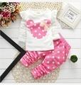 2015 Nova crianças roupas de menina bebê Minnie ternos casuais de algodão de manga longa coelho do bebê roupas crianças de varejo se adapte Frete grátis
