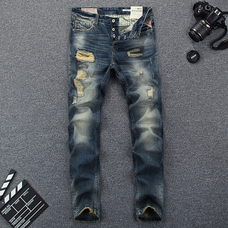 ФОТО Italian Style Fashion Men Jeans High Quality Slim Fit Destroyed Ripped Jeans For Men Brand Clothing Street Skinny Biker Jeans