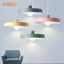 AIBIOU Modern LED Pendant Lights With Metal Lampshade For Dining Room Color Pendant Lamp E27 Bar Light Adjust Hanging Luminaire botimi colorful pendant lights for dining nordic led pendant lamp with lampshade single e27 bar light indoor hanging lamps