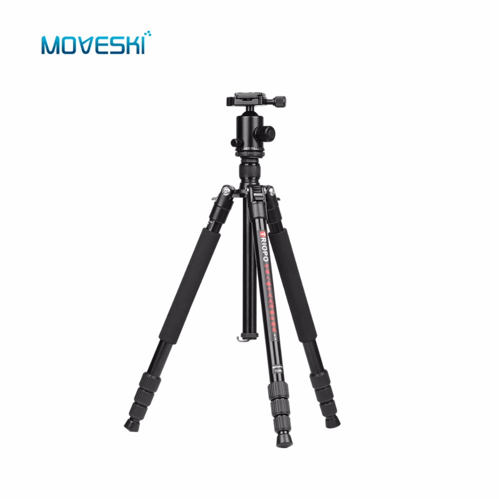 Moveski T268 Professional Aluminum Tripod Monopod With Ball Head For DSLR Camera Portable Travel Camera Tripod Stand ashanks professional aluminum camera tripod mini portable monopod with ball head for dslr photography video studio load 10kg