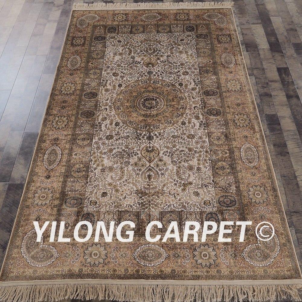 YILONG 5'x8' Antique oriental silk carpet hand knotted rectangle persian rug (SCH081A5x8)