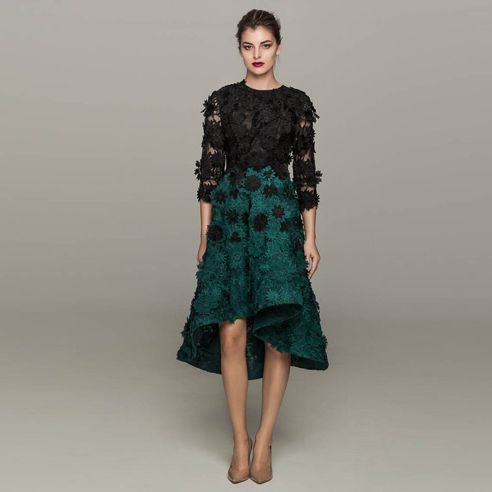 Fashion style Black and green cocktail dresses for woman