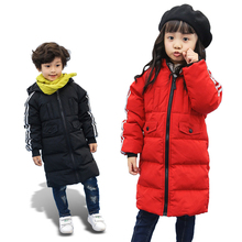 2017 New Baby Boys And Girls Winter Warm Long Coat Kid Hooded Cotton Padded Jacket Kid Fashion Snow Wear Thick Down Winter Coat