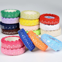 1PC 16 Colors Cotton Lace Fabric White Crochet Lace Roll Ribbon Knit Adhesive Tape Sticker Craft Decoration Stationery Supplies diy cotton nylon lace adhesive tape white